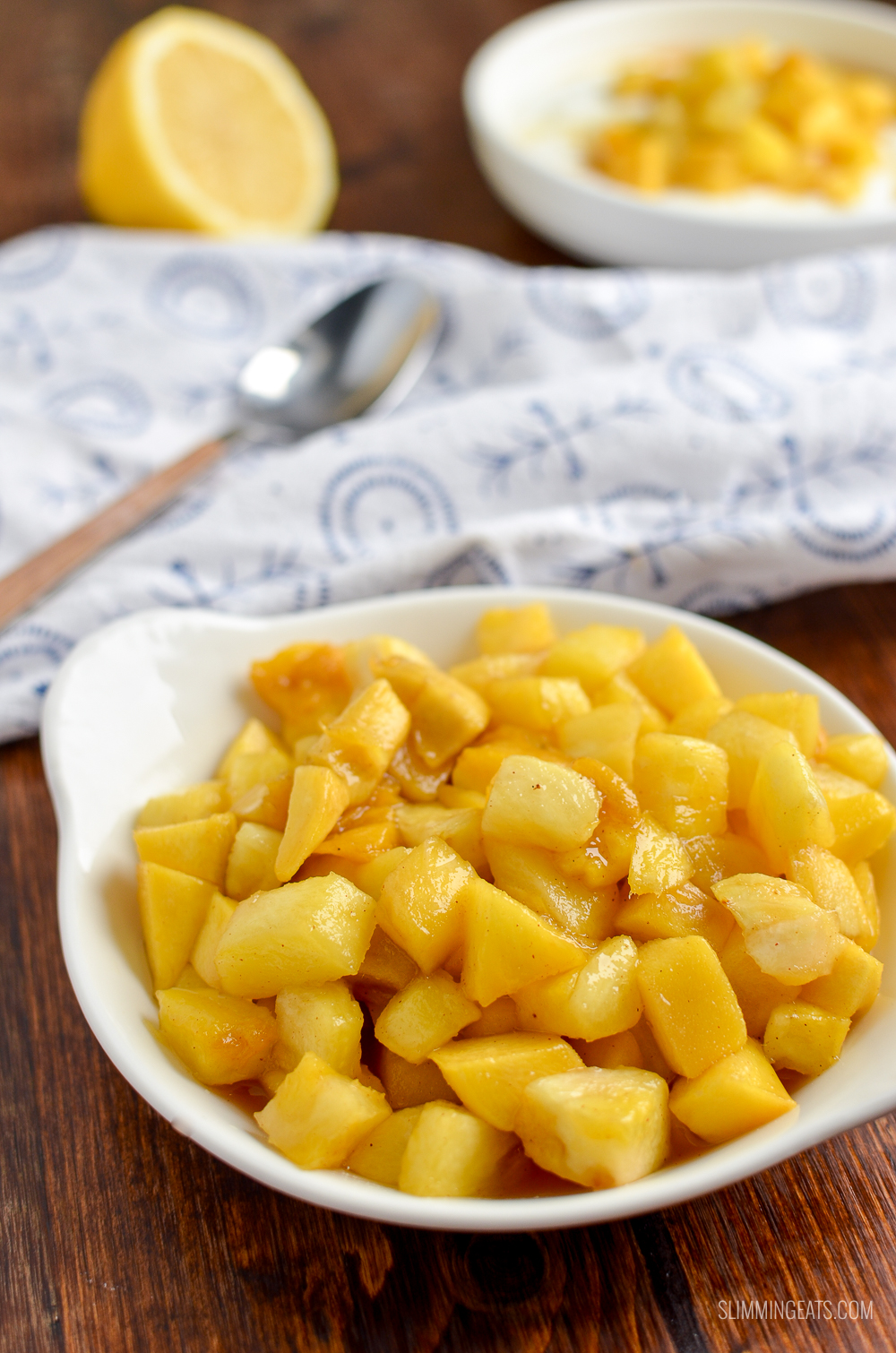 roast pineapple and mango in white bowl