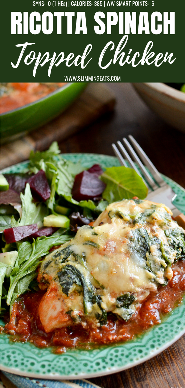 ricotta spinach topped chicken pin image