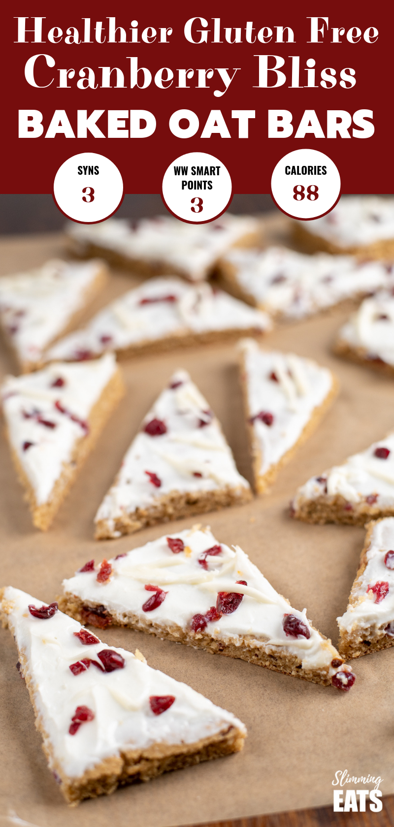 cranberry bliss baked oat bar on parchment pin
