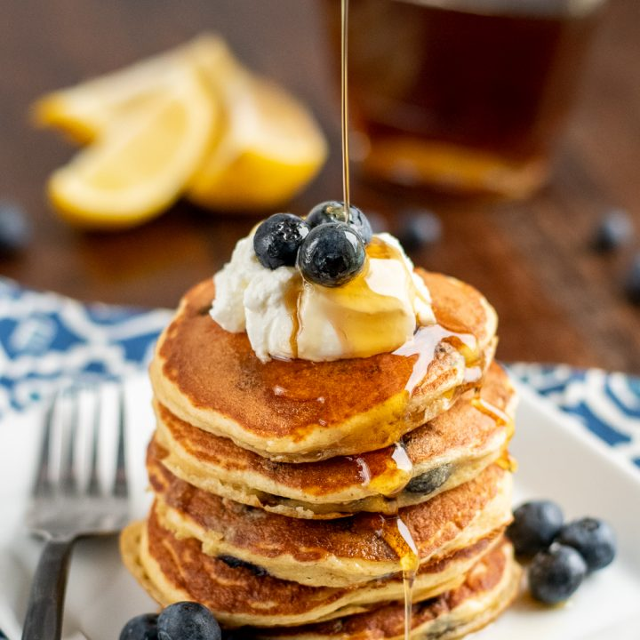 Low Syn Lemon Blueberry Oat Pancakes
