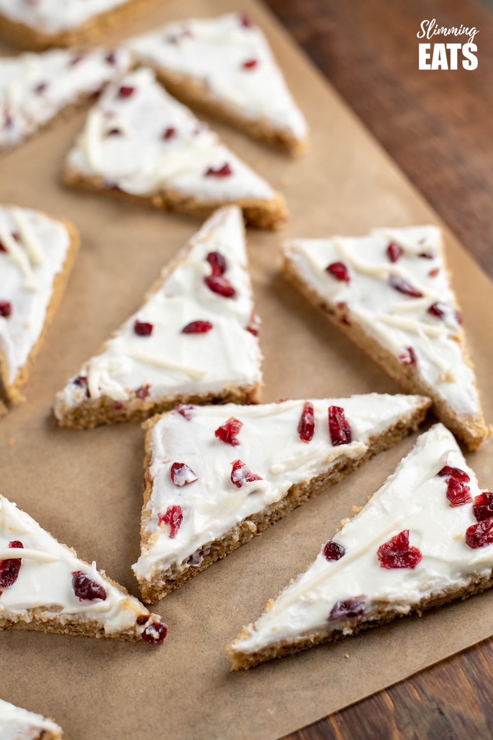 cranberry bliss baked oat bar slices on parchment paper