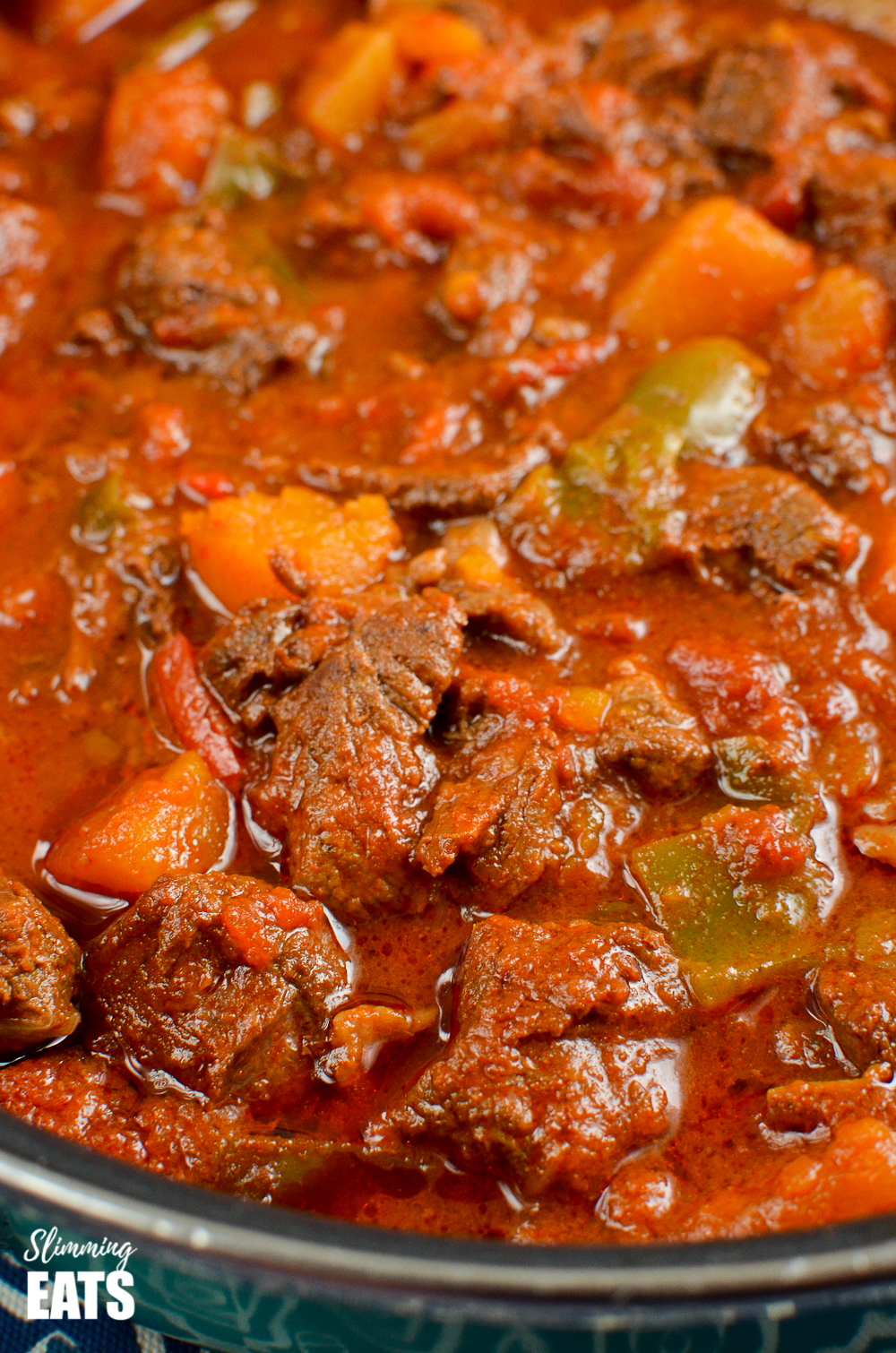 close up of paprika beef in pan