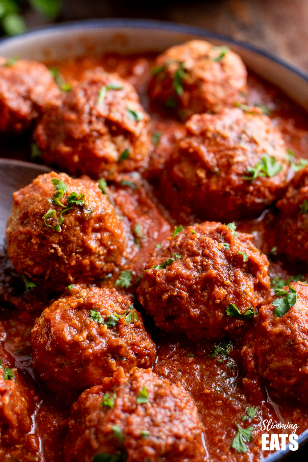 close up of slow cooker Italian chicken meatballs in dish