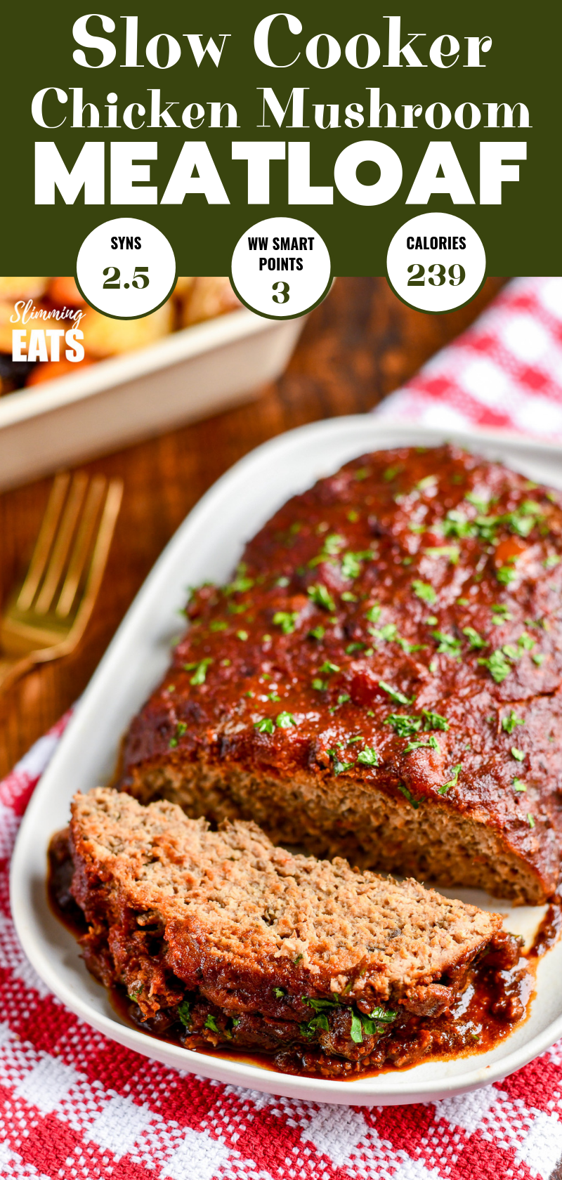 slow cooker chicken mushroom meatloaf on white plate pin