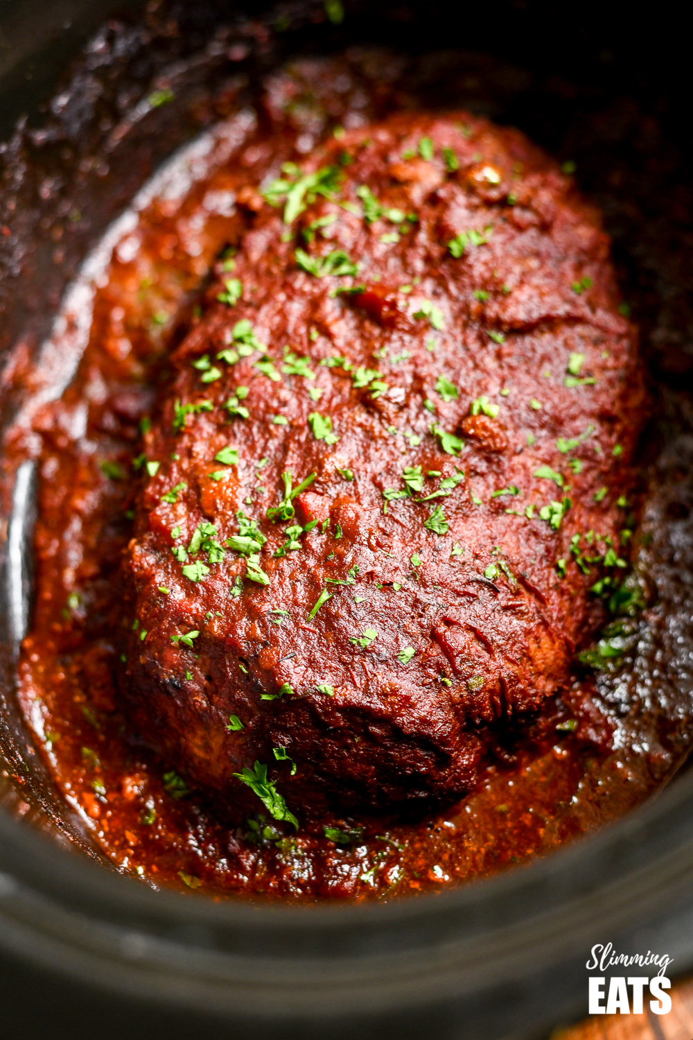 slow cooker chicken mushroom meatloaf in the dish in slow cooker