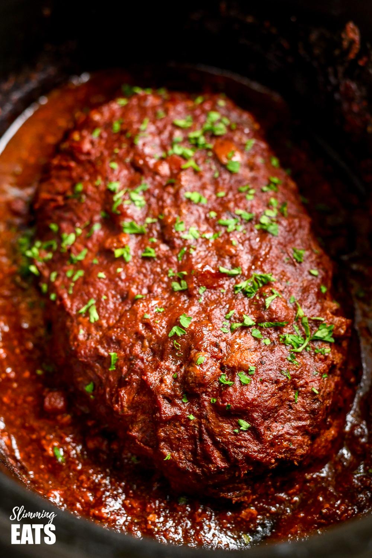 slow cooker chicken mushroom meatloaf in slow cooker