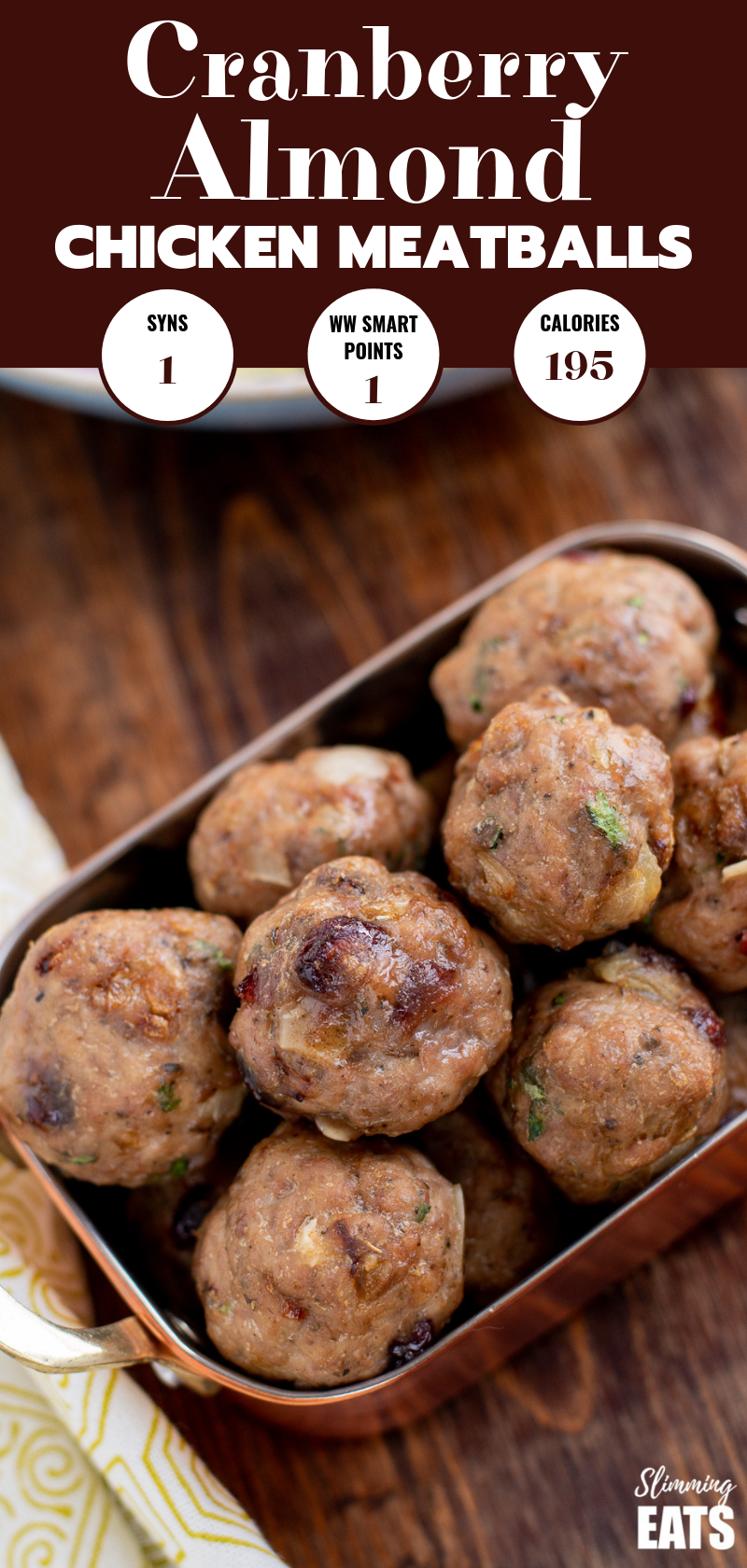 cranberry almond chicken meatballs in small copper dish pin