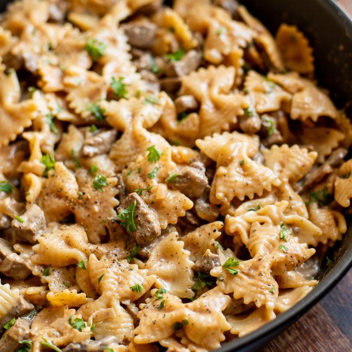 One Pot Beef Stroganoff Pasta
