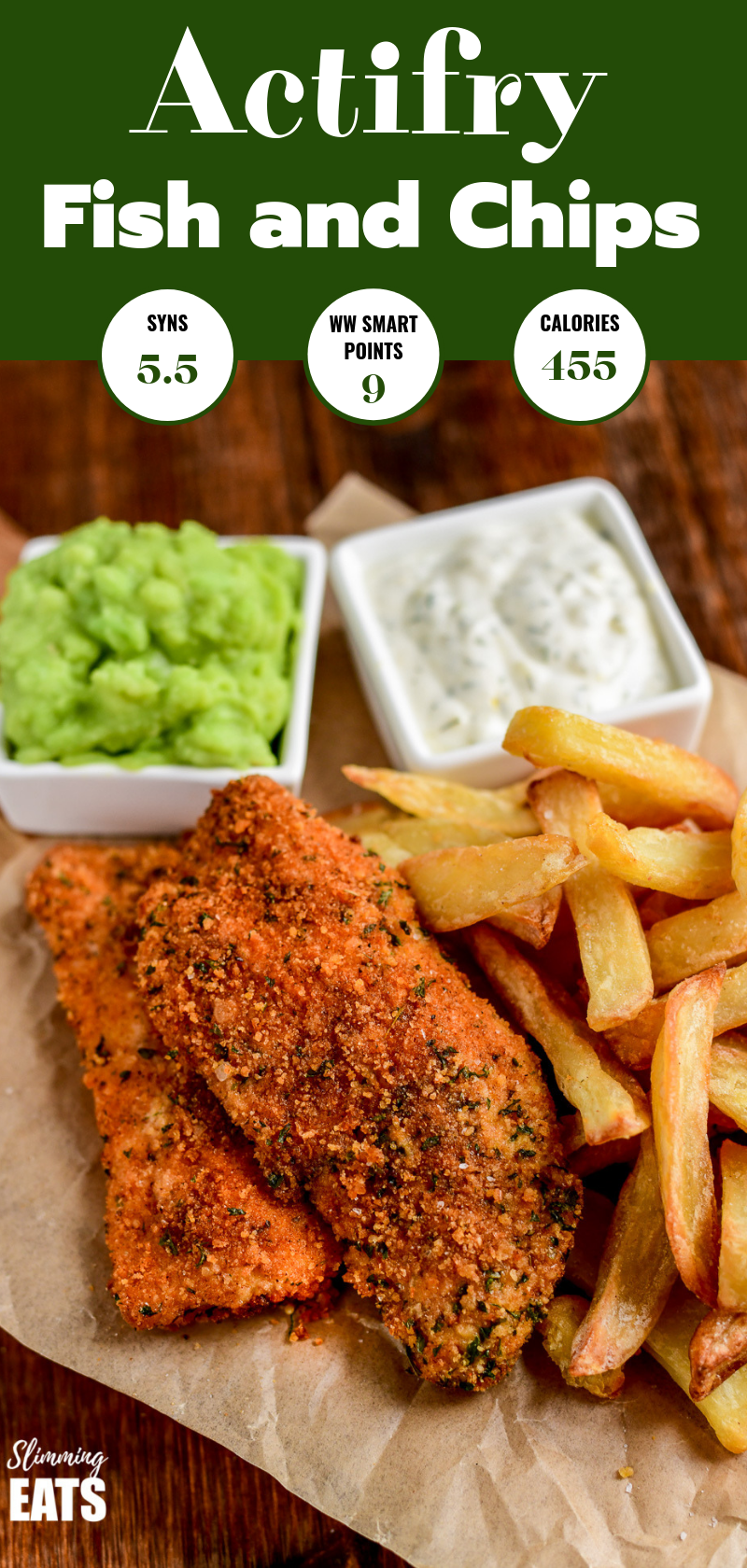 Actifry fish and chips on crinkle parchment paper Pin