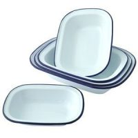 Falcon Enamel Oblong Pie Dishes - Set of 3 - 20cm, 22cm, 24cm.