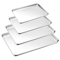 Baking Tray Set of 4, HaWare Stainless Steel Baking Sheet –Rimmed Pan Baking Sets -Healthy & Non Toxic, Easy Clean & Dishwasher Safe (Large Size)