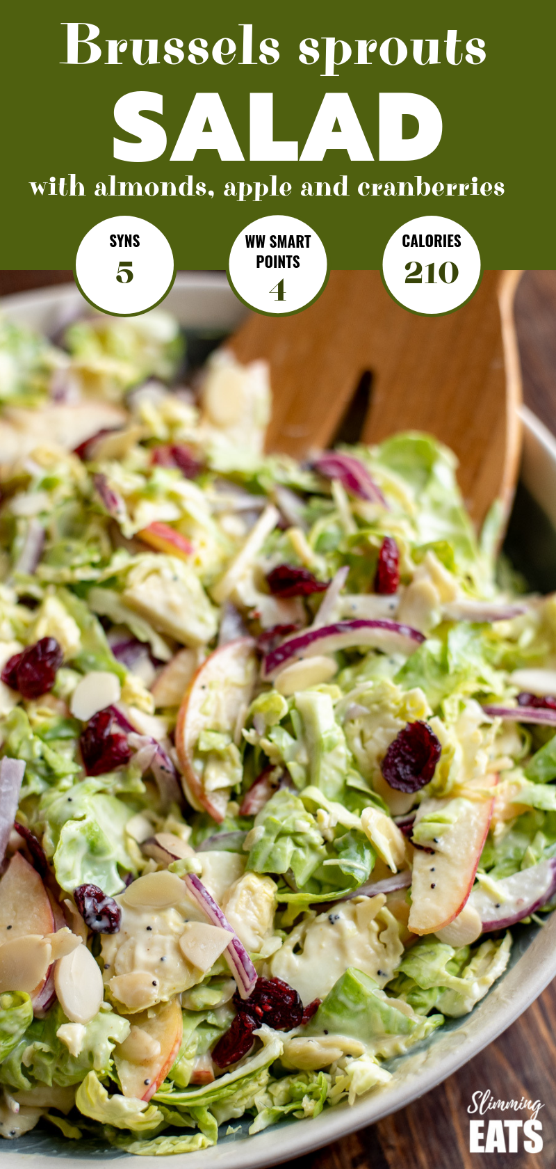 close up of brussels sprouts salad in bowl pin image