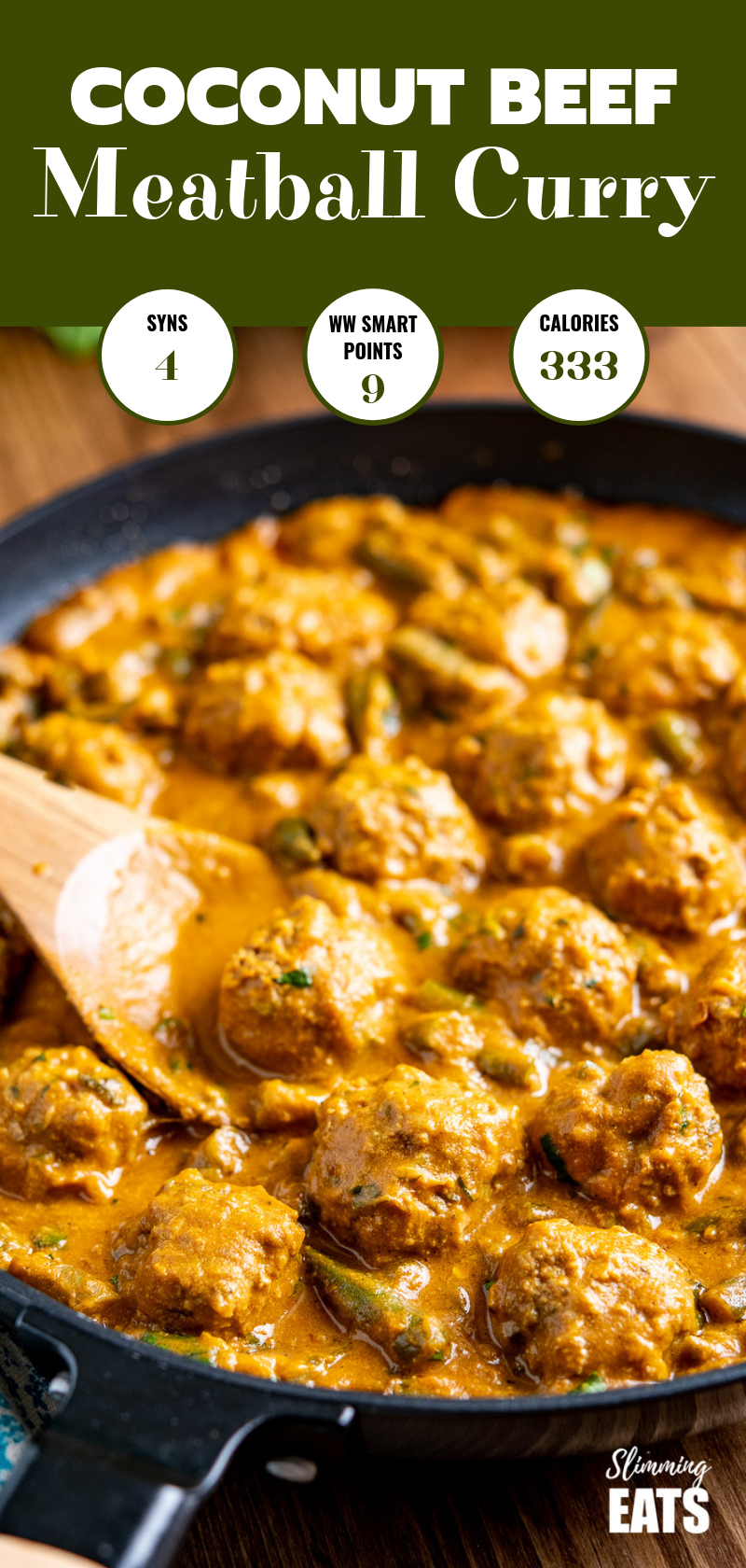 coconut beef meatballs curry in black frying pan with wooden spoon pin