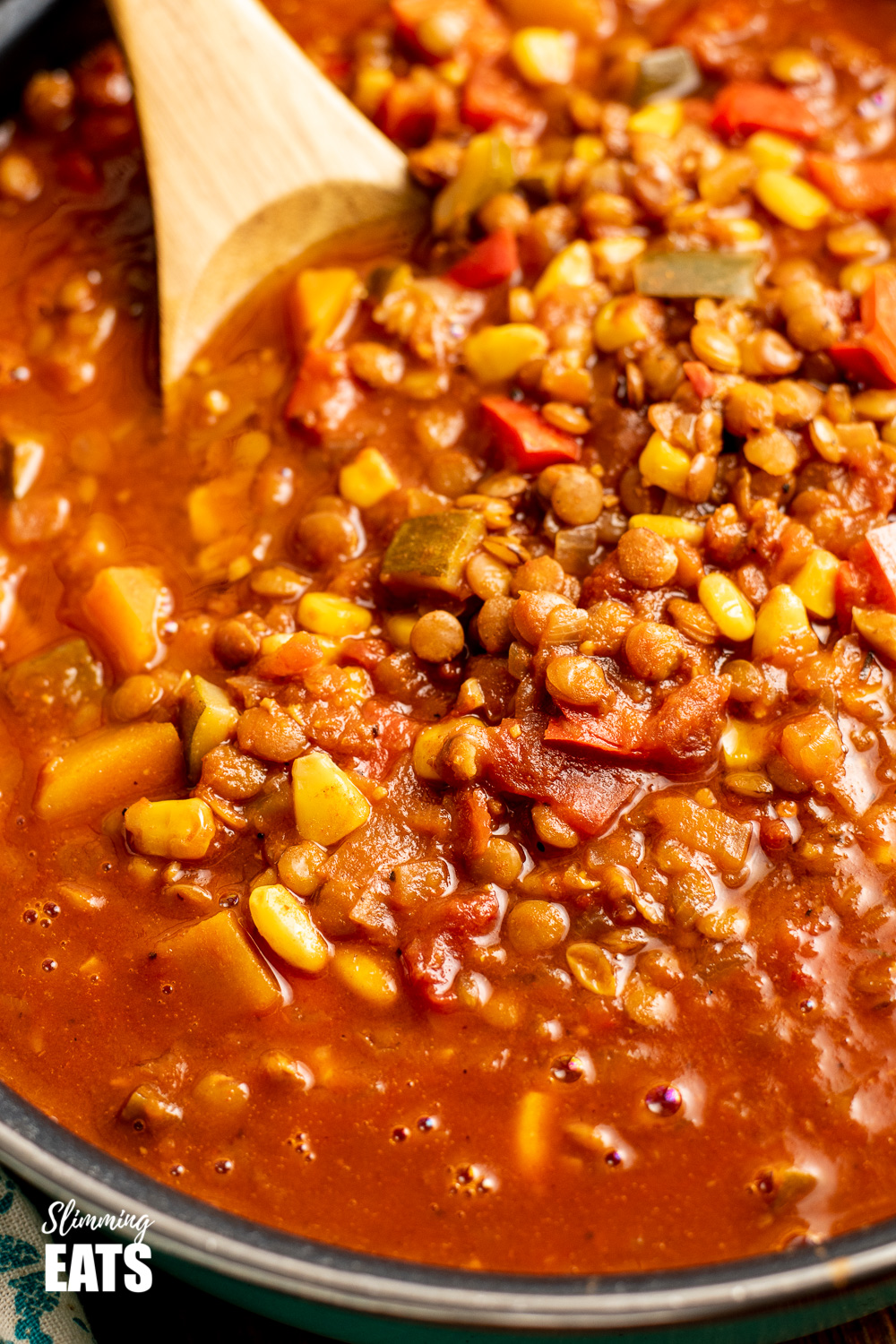 close up fo taco lentil soup