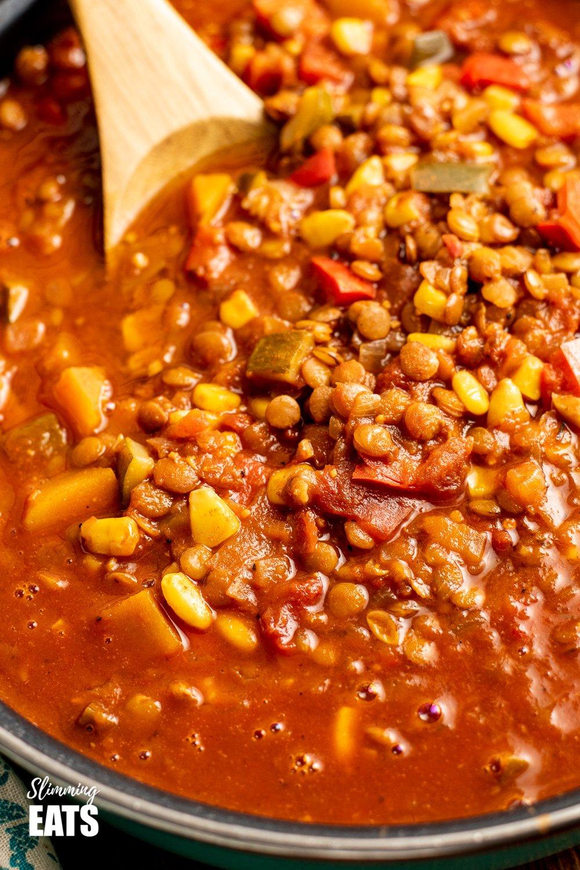 close up fo taco lentil soup
