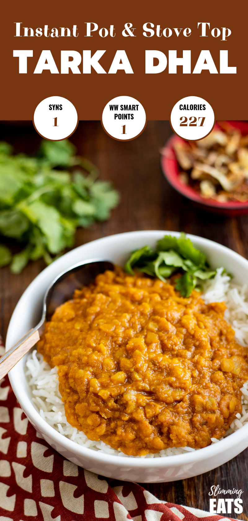 Tarka Dhal in white bowl over white rice pin image