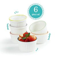 Uno Casa Ceramic White Souffle Dishes, Ramekins - 5 Ounce for Souffle, Creme Brulee and Ice Cream - Set of 6, White with Colored Rims - Package Quantity of 1 Includes 6 Ramekins