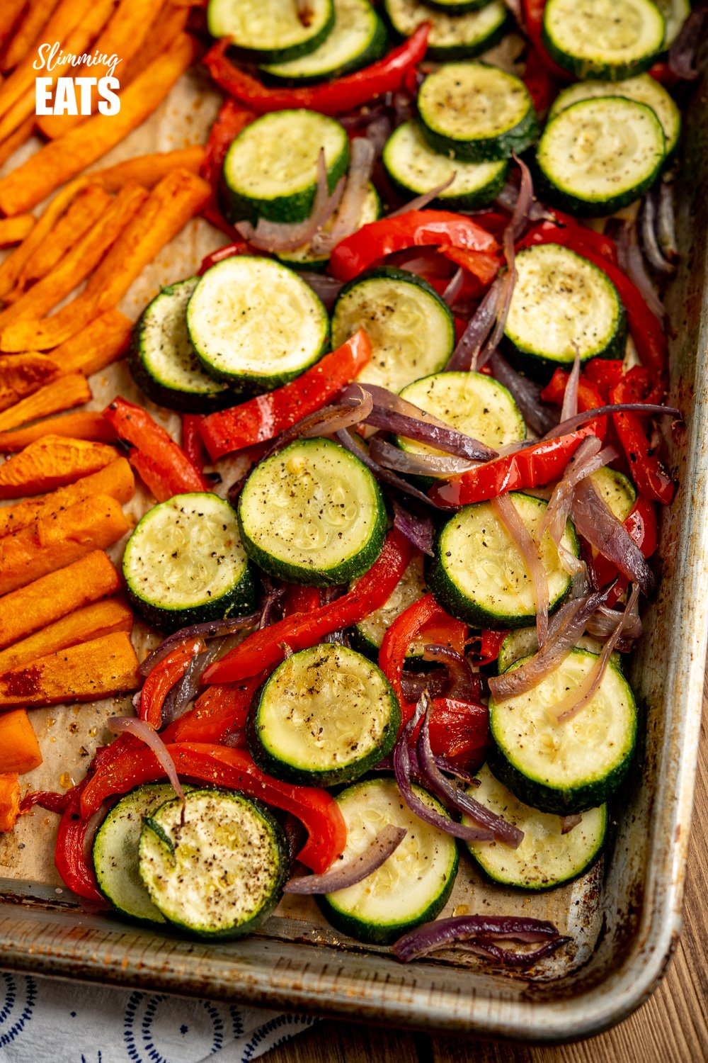 close up of roasted zucchini, peppers and onion from Beef Kofta Tray Bake