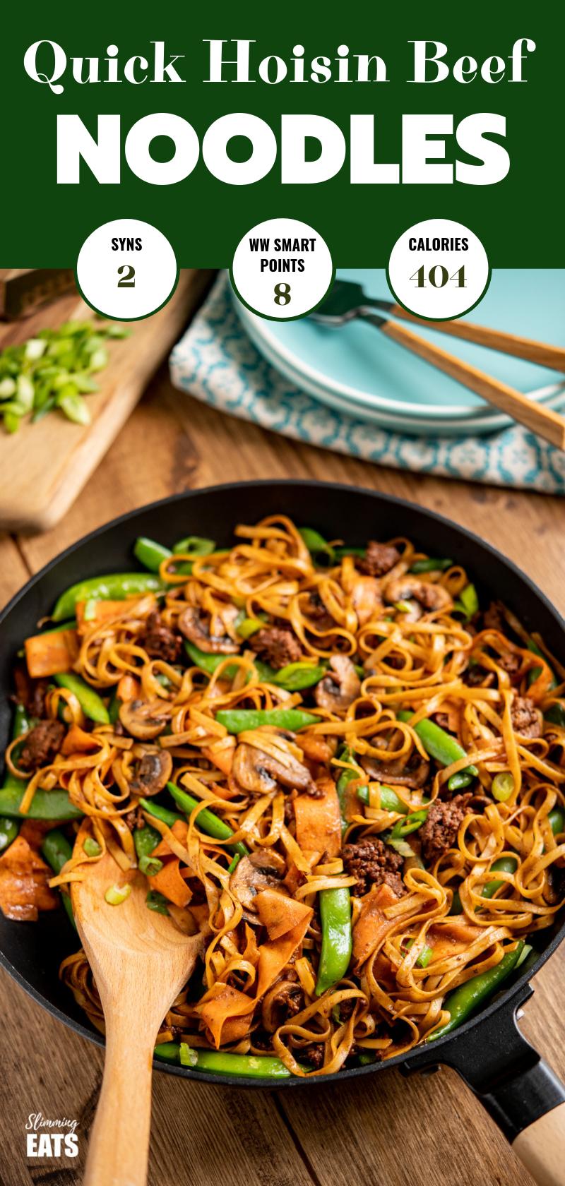 hoisin beef noodles in black frying pan pin image