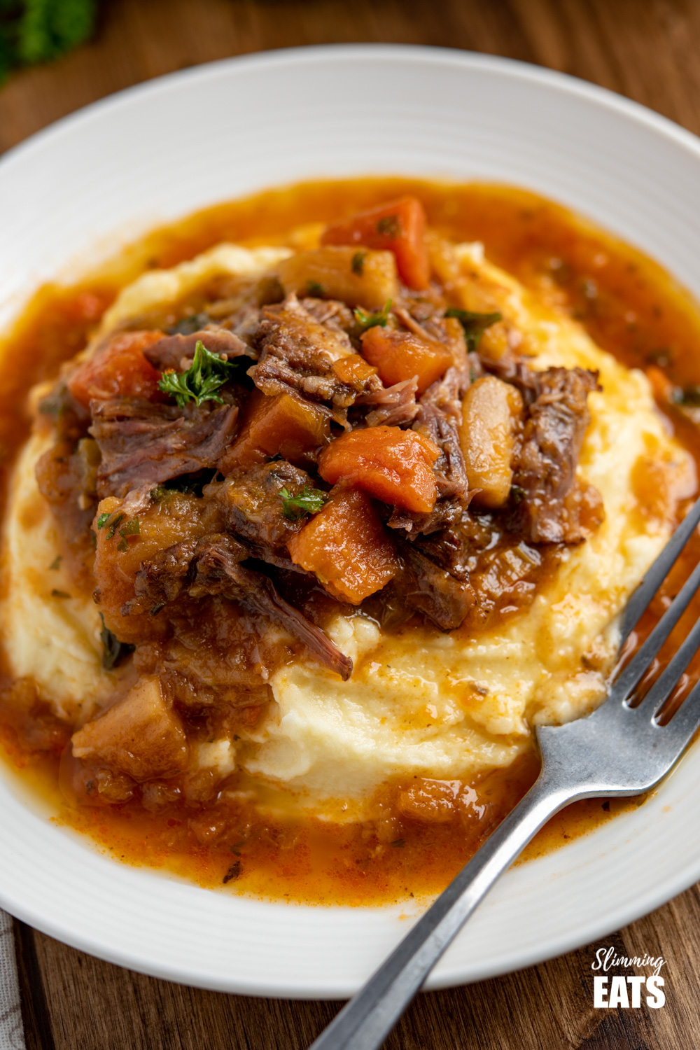 close up of Hearty Oxtail Stew over Syn Free mashed potatoes on white plate with silver fork