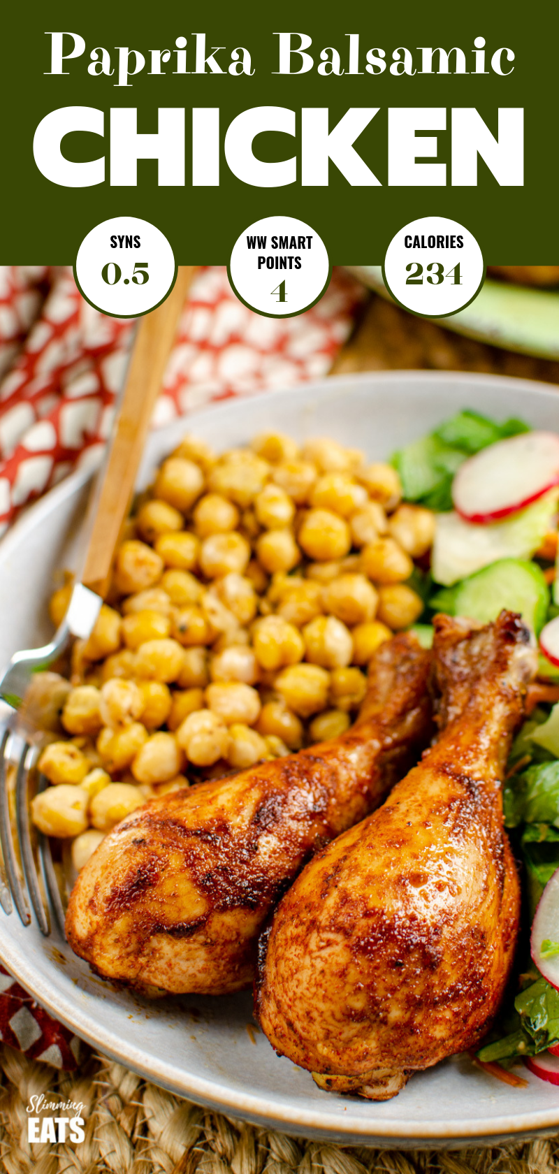 paprika balsamic chicken in bowl with chickpeas and salad pin