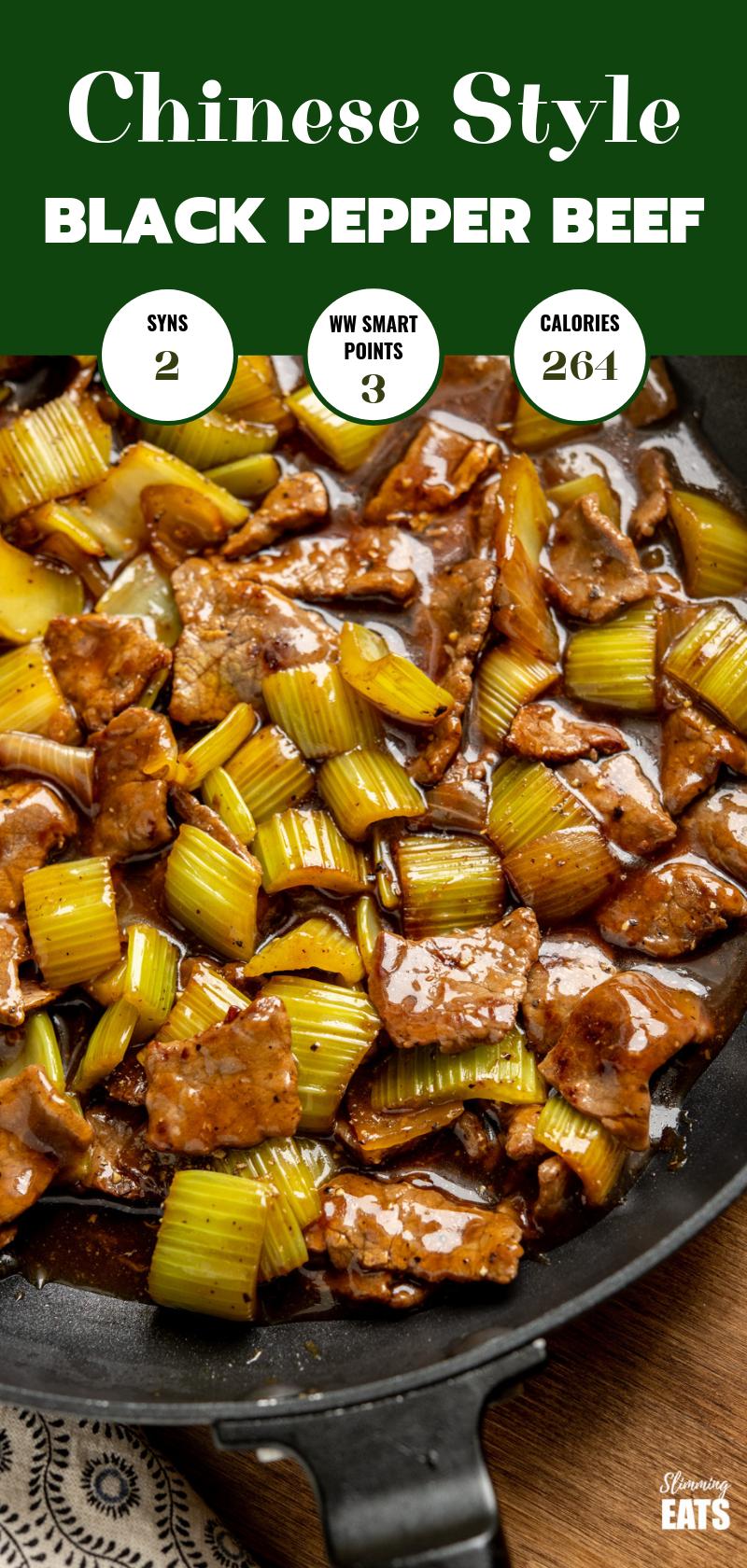 black pepper beef in frying pan pin