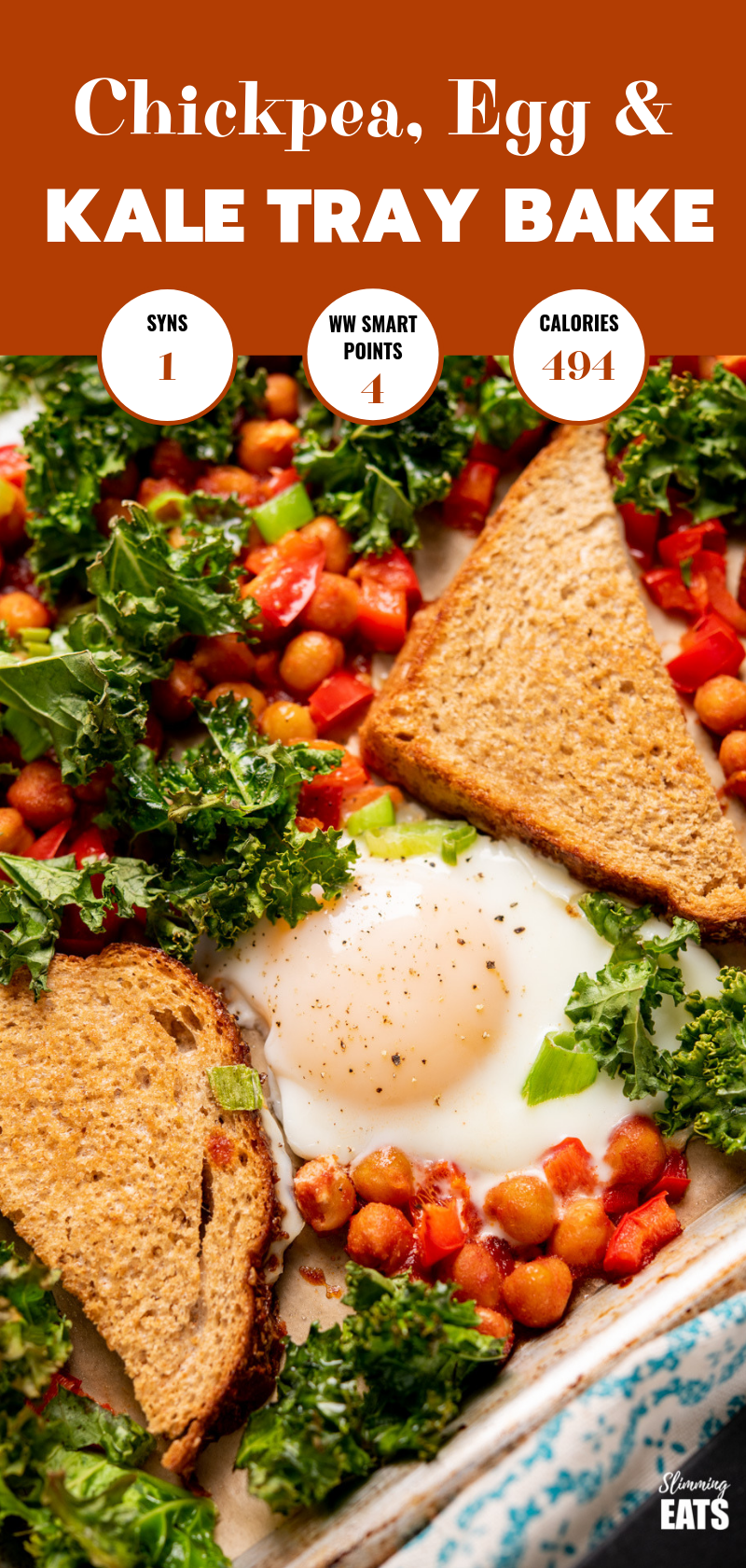 chickpea, egg and kale tray bake pin