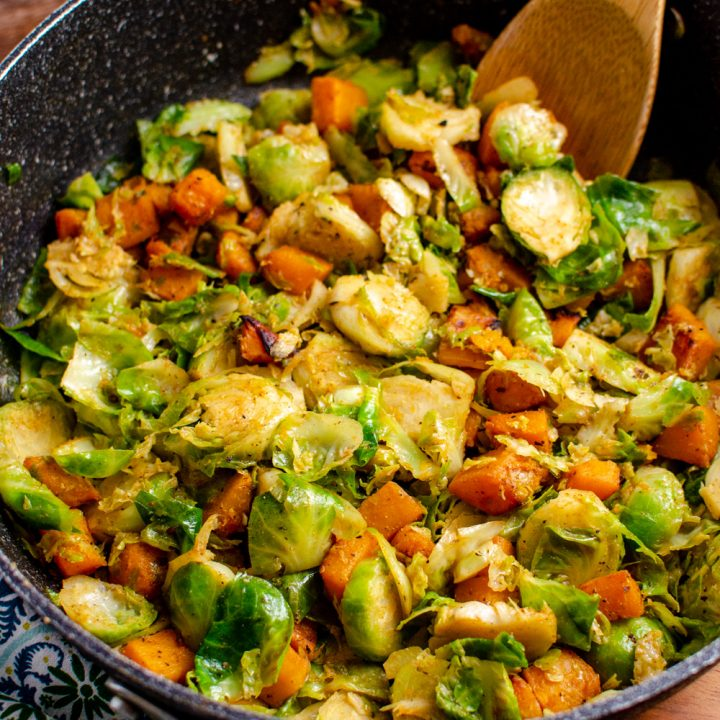 Sautéed Brussels sprouts with Roasted Butternut Squash