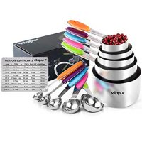 Vilapur Measuring Cups and Spoons Set of 13, Durable 304 Stainless Steel 5 Measuring Cups and 5 Measuring Spoons with 2 O Rings and Magnetic Measurement Conversion Chart