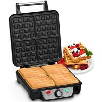 Andrew James Waffle Maker 4 Slice Belgian Style Electric Machine with Non-Stick Plates | Easy to Use Easy to Clean & Quick - Waffles in Under 5 Minutes