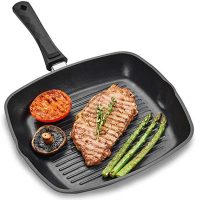 Andrew James Griddle Pan for All Hobs Including Induction   Oven-Proof Non-Stick Aluminium Pan with Removable Handle   Delicious Chargrilled Meat Chicken Fish & Veg