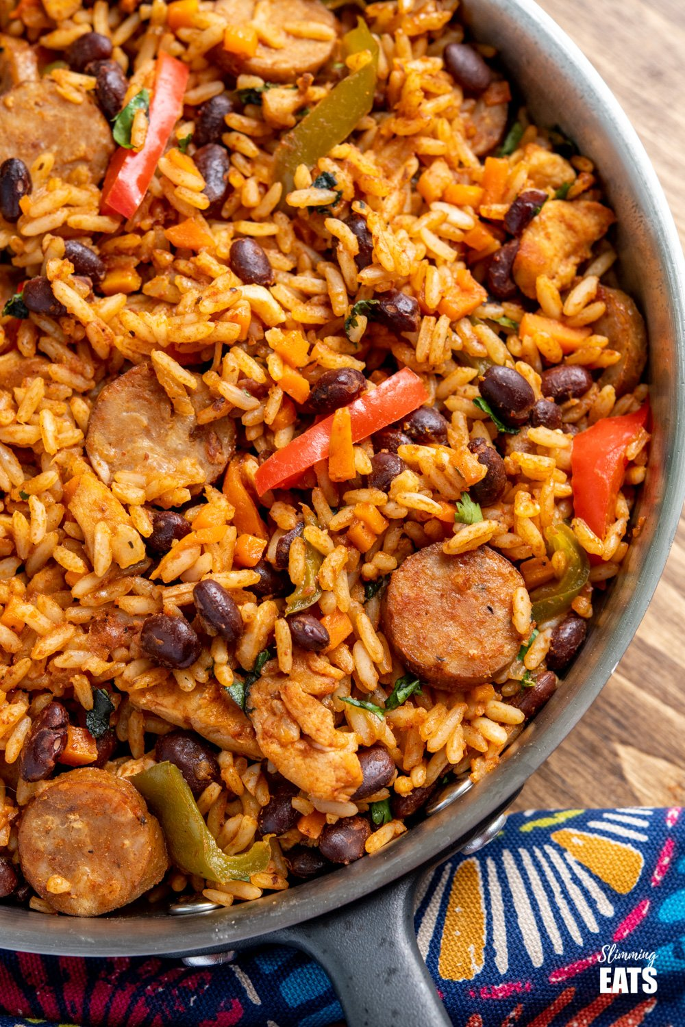close up of One Pot Cuban Style Rice in frying pan