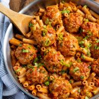 Creamy Cajun Chicken Meatball Pasta (Gluten Free and Dairy Free)