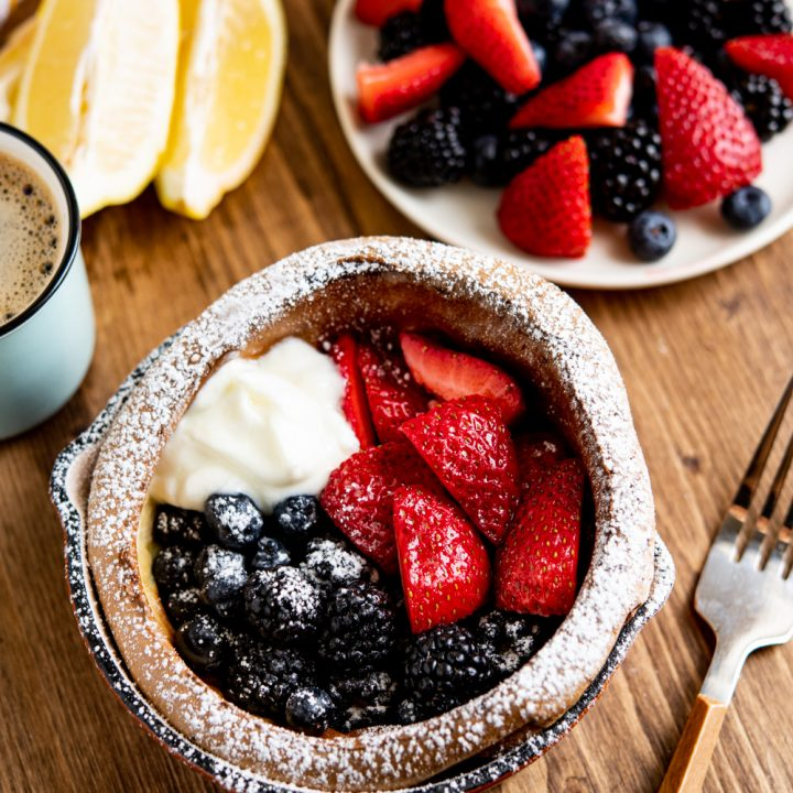 Healthier Dutch Baby with Berries and Yoghurt