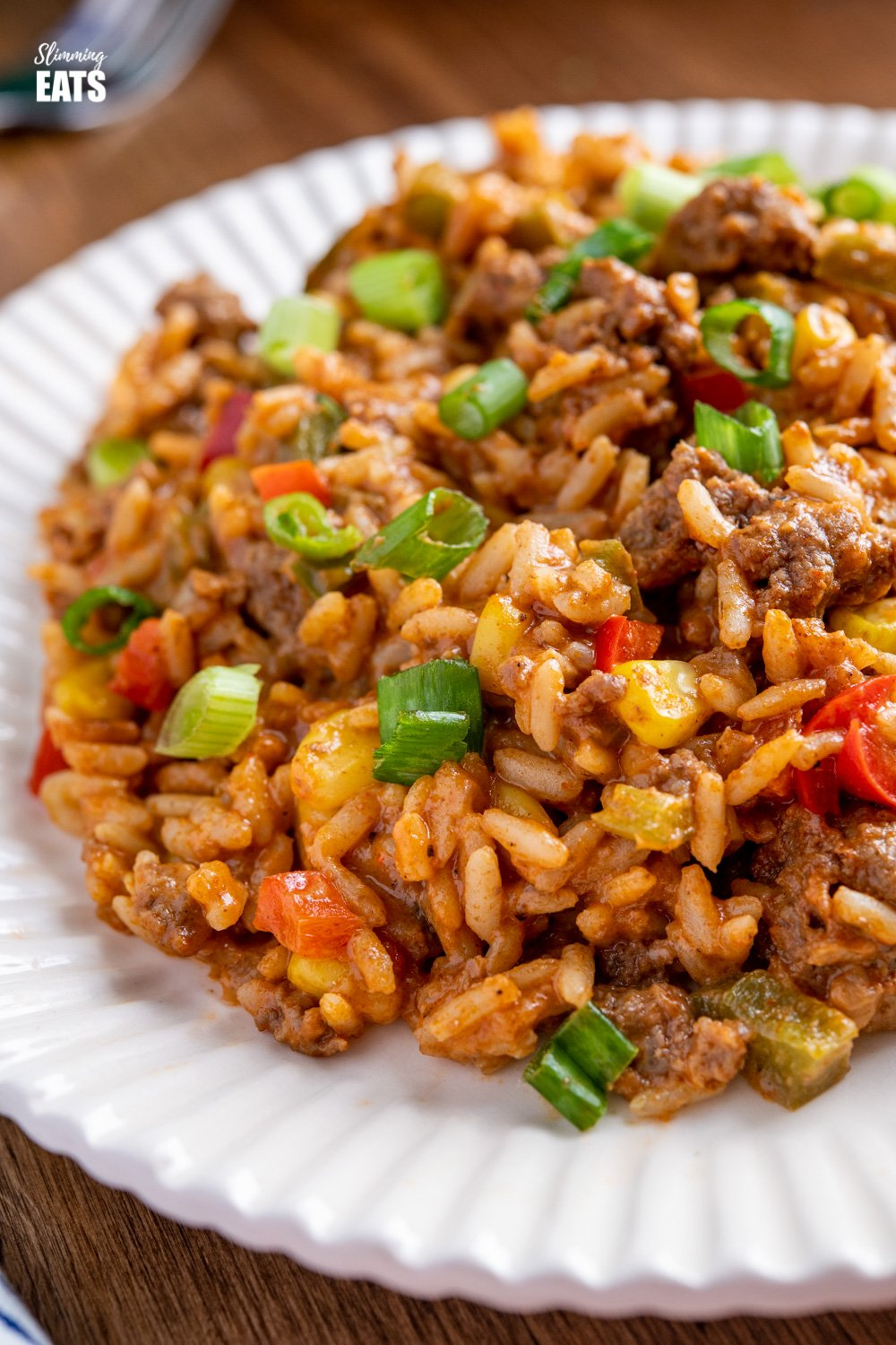 close up of Taco Beef Rice on white plate