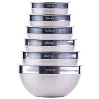 Eono by Amazon - Set of Six Stainless Steel Nestling Mixing Bowls (Matte and Mirror Finish) …