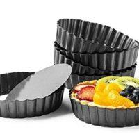 Quiche Pans, Commercial Grade Non Stick Removable Bottom 5 Inch Mini Tart Pans (5 inch)