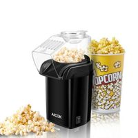 Hot Air Popcorn Maker, Aicok 1200W Retro Popcorn Maker Healthy and Fat-Free, Measuring Cup, Removable Lid