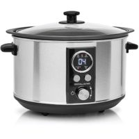 Andrew James Slow Cooker Sizzle to Simmer | Sear and Stew 3.5L Digital Slow Cooker | Digital Display & Timer | Tempered Glass Lid & Removable Bowl | Silver