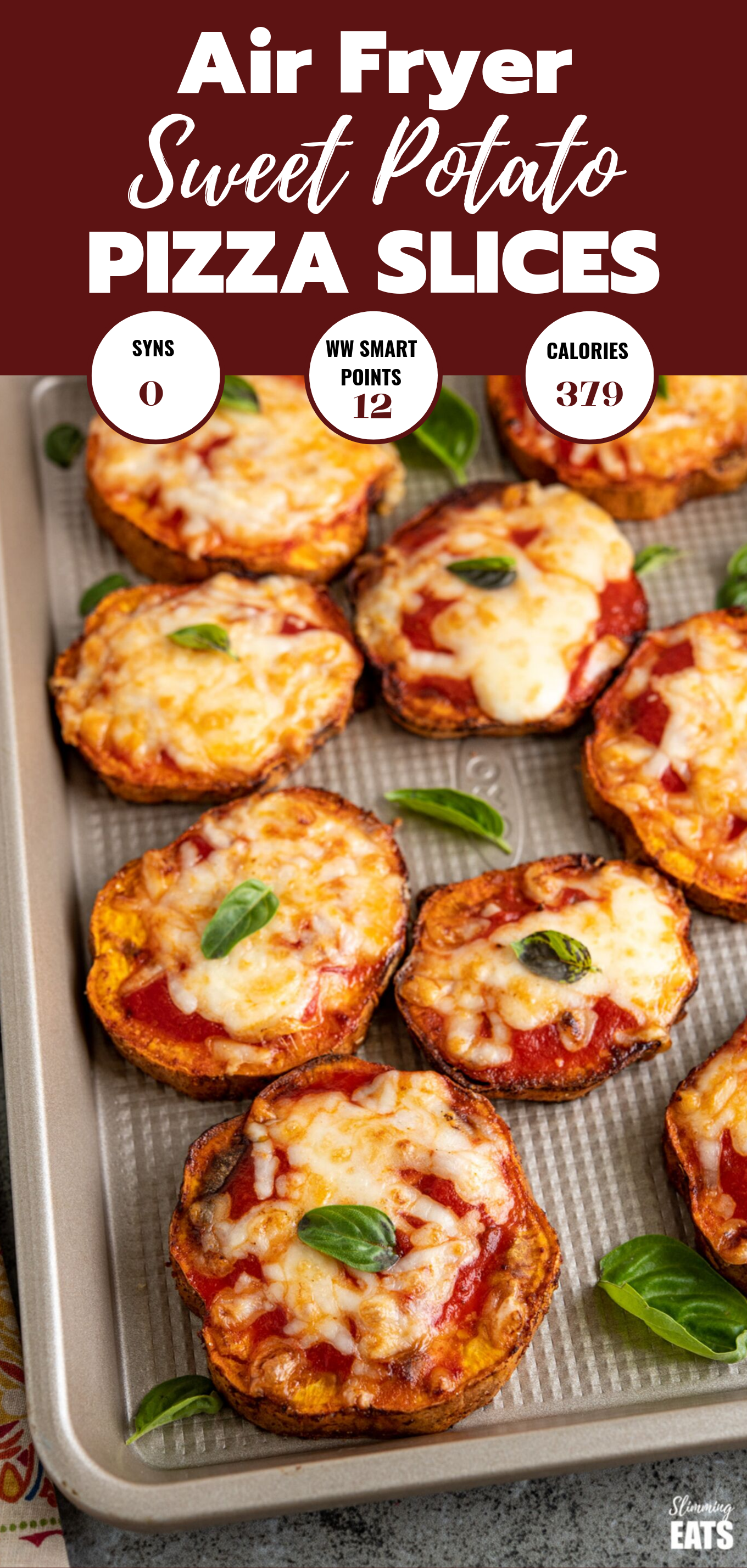 air fryer sweet potato pizza slices featured pin