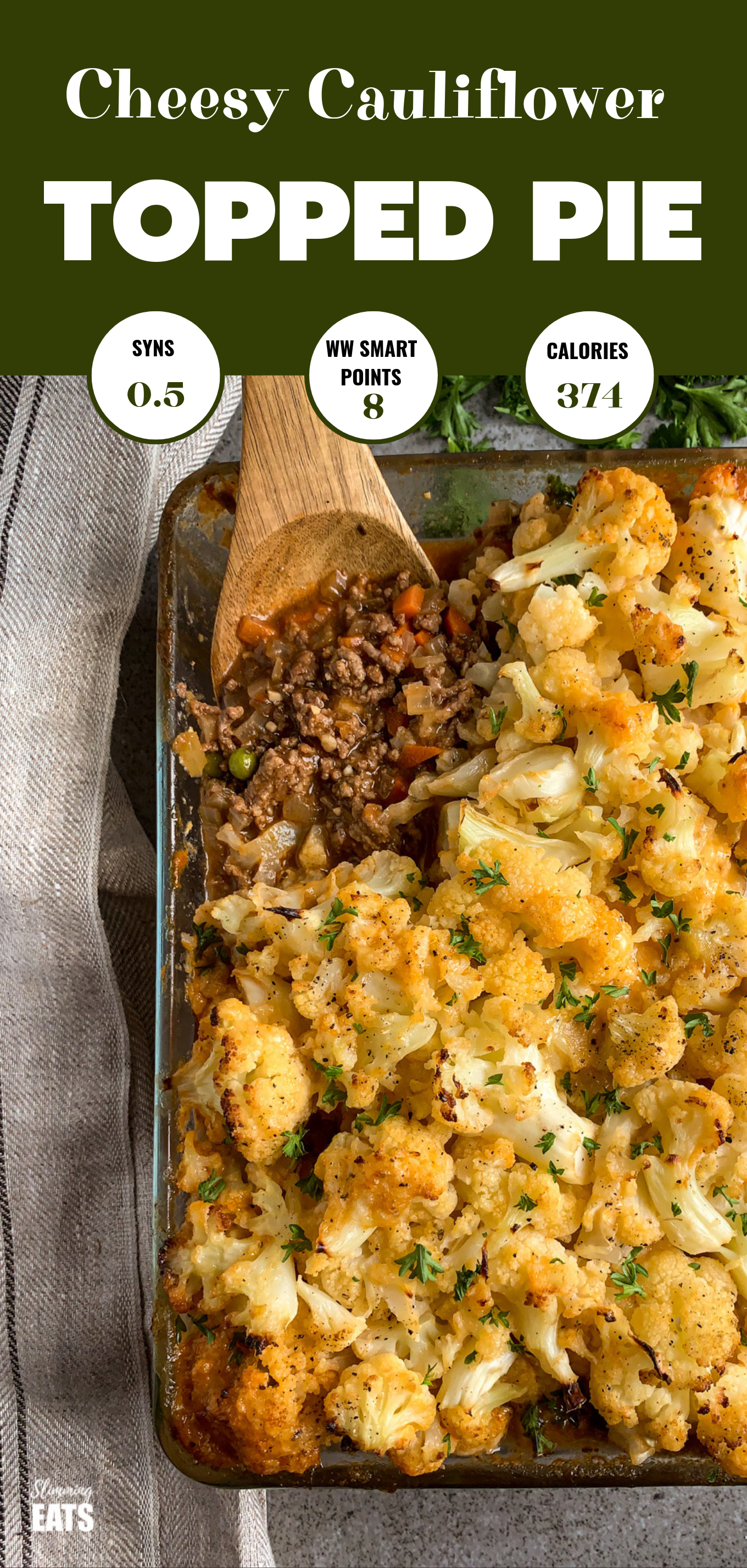 Cheesy Cauliflower Topped Pie Feature Pin Image