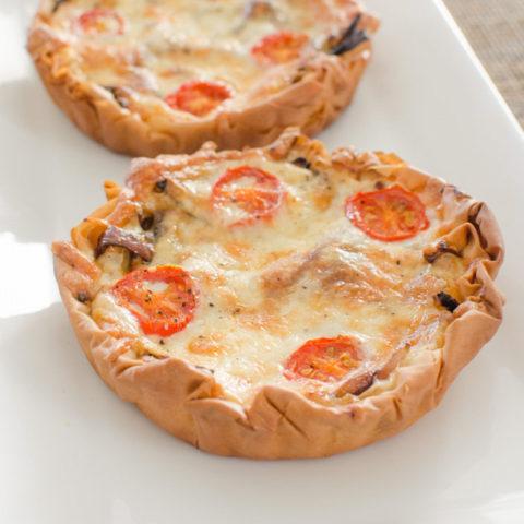 Caramelized Onion, Tomato and Mozzarella Filo Tart