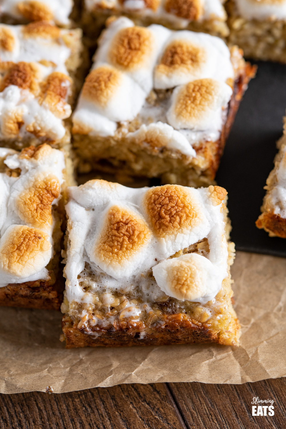 close up of toasted marshmallow oat bar