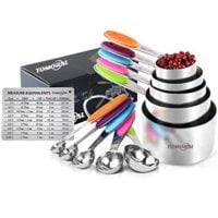 TOMORAL Measuring Cups and Spoons Set of 13, Durable 304 Stainless Steel 5 Measuring Cups and 5 Measuring Spoons with 2 O Rings and Magnetic Measurement Conversion Chart