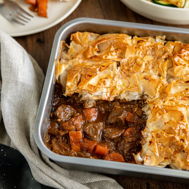 Epic Steak and Vegetable Pie with Filo Pastry