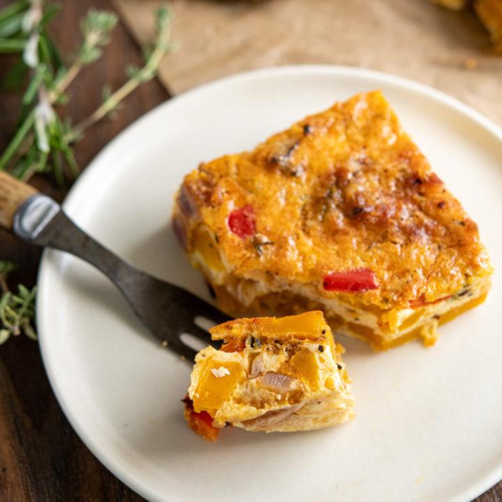 Crustless Butternut Squash and Red Pepper Quiche