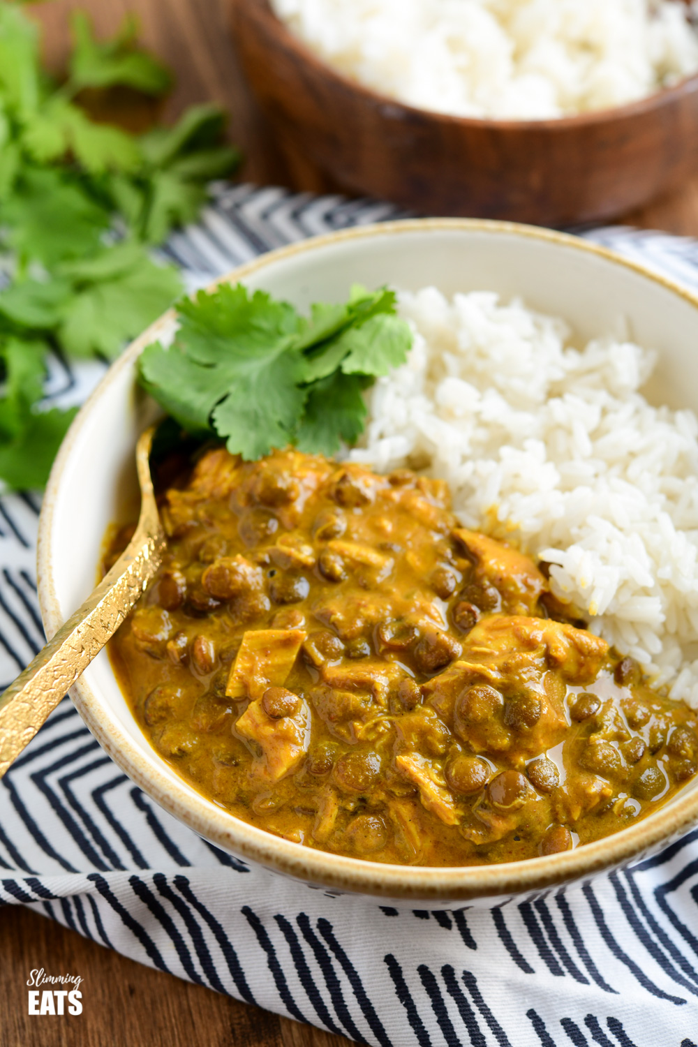 close up of coconut chicken and lentil curry in a cream and white bowl with white rice and coriander
