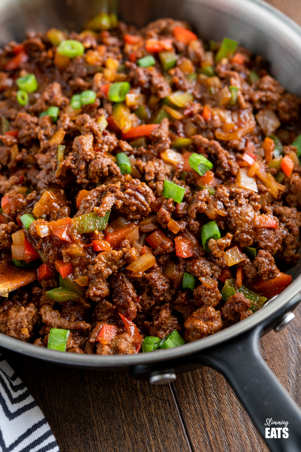 close up of easy asian ground beef in frying pan