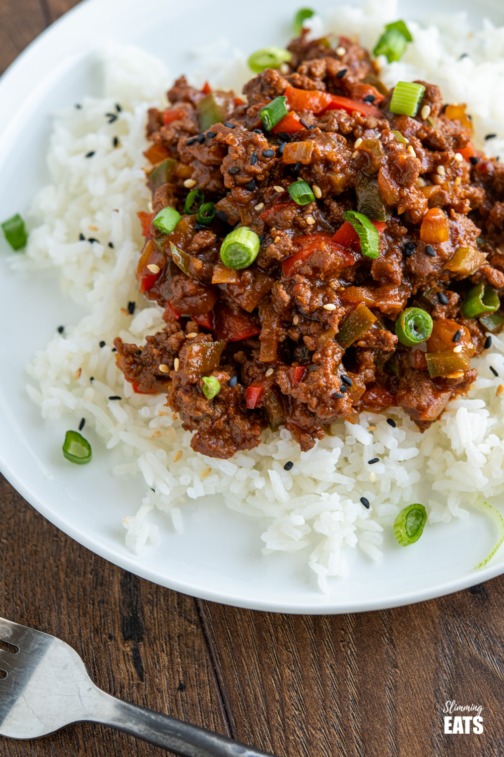 close up of easy asian ground beef over white rice