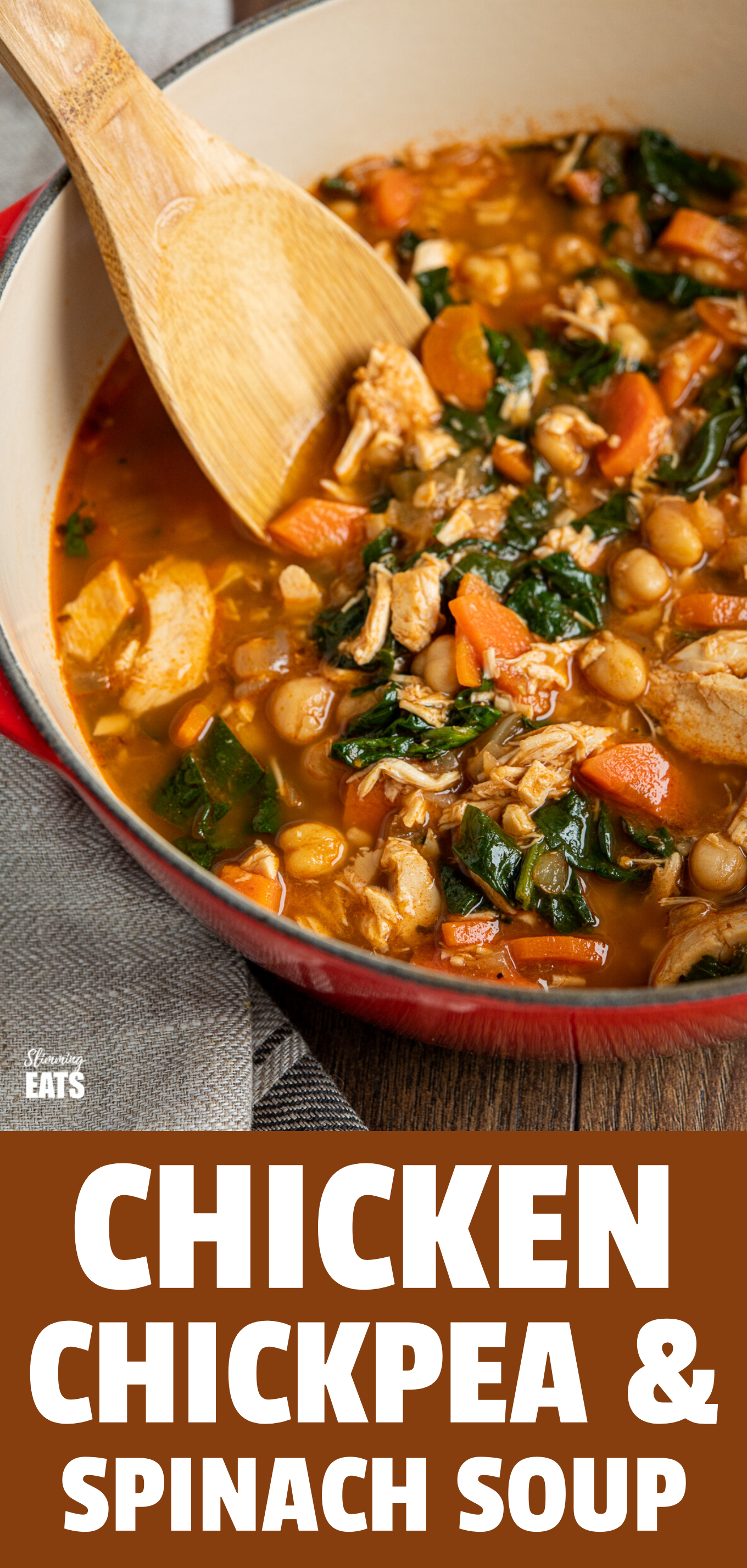 Chicken Chickpea Spinach Soup featured pin